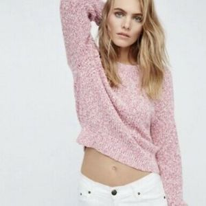 Free People Electric City Pink Marled Sweater, S